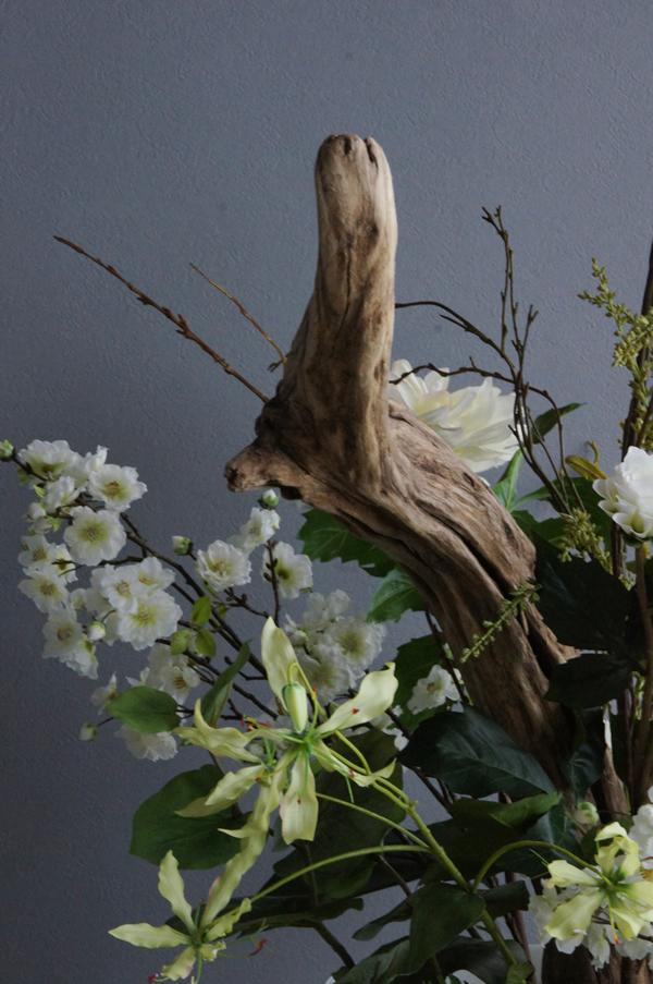 造花 アートフラワー 流木 ダイナミック