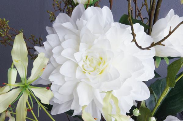 造花 アートフラワー 白いダリア ホワイトダリア