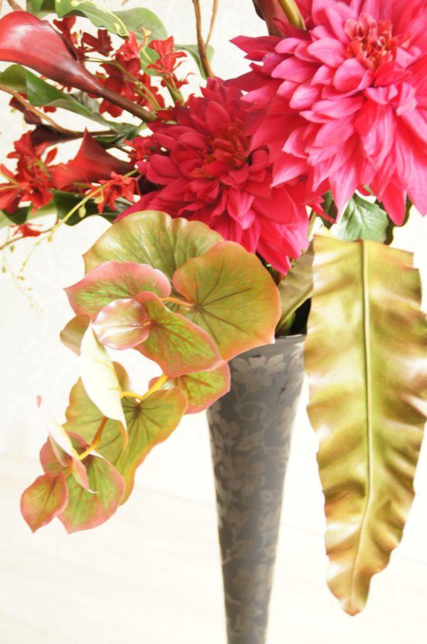 オフィス ダリア 赤 造花 アートフラワー