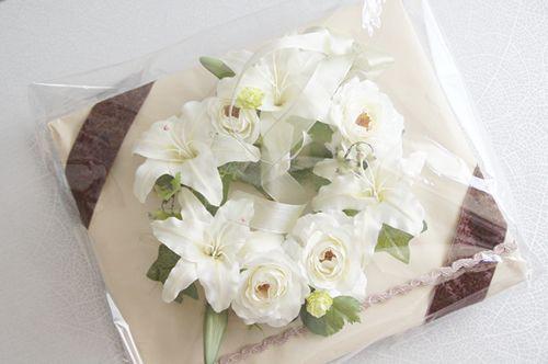 アートフラワー リース ラッピング 造花 カサブランカ バラ